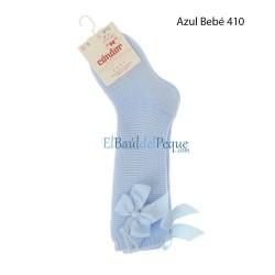 CONDOR Calcetín Azul Bebé Alto Punto Bobo con Lazo detrás