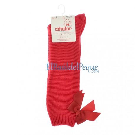 CONDOR Calcetín Rojo Alto Punto Bobo con Lazo detrás