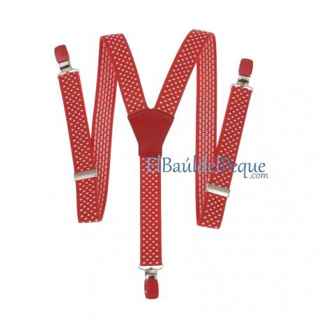 Tirantes Rojo Básicos Infantiles con Topitos Blancos