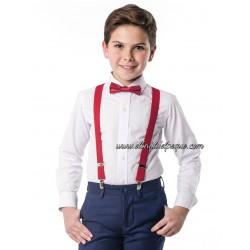 SPAGNOLO Camisa Niño Blanca Cuello Cutaway Fil a Fil