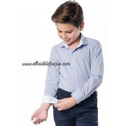 SPAGNOLO Camisa Niño Celeste Cuello Cutaway Fil a Fil