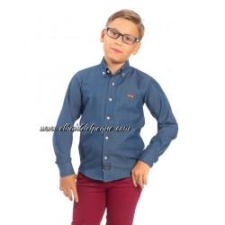 Camisa Denim Niño Azul y Roja de Spagnolo