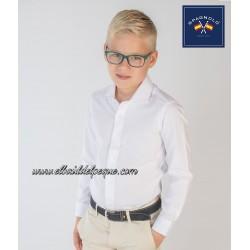 Camisa Niño Blanca Cutaway Fil a Fil Spagnolo Moda Infantil