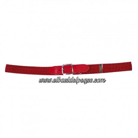 Cinturón Niño RojoTrenzado Elástico Hebilla Cromada