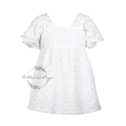 Vestido Blanco y Dorado Eve Children Dragon Fly