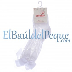 CONDOR Calcetines Lazos Altos Calados Blanco 200