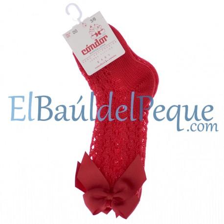 CONDOR Calcetines Lazos Altos Calados Rojo 550