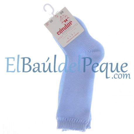 CONDOR Calcetines Altos Perlé Azul Bebé